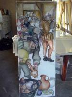 """Interprétation libre de Bruegel L'Ancien : """"Le Repas de Noce"""" © Valka Dimensions : 150 x 70 cm"""